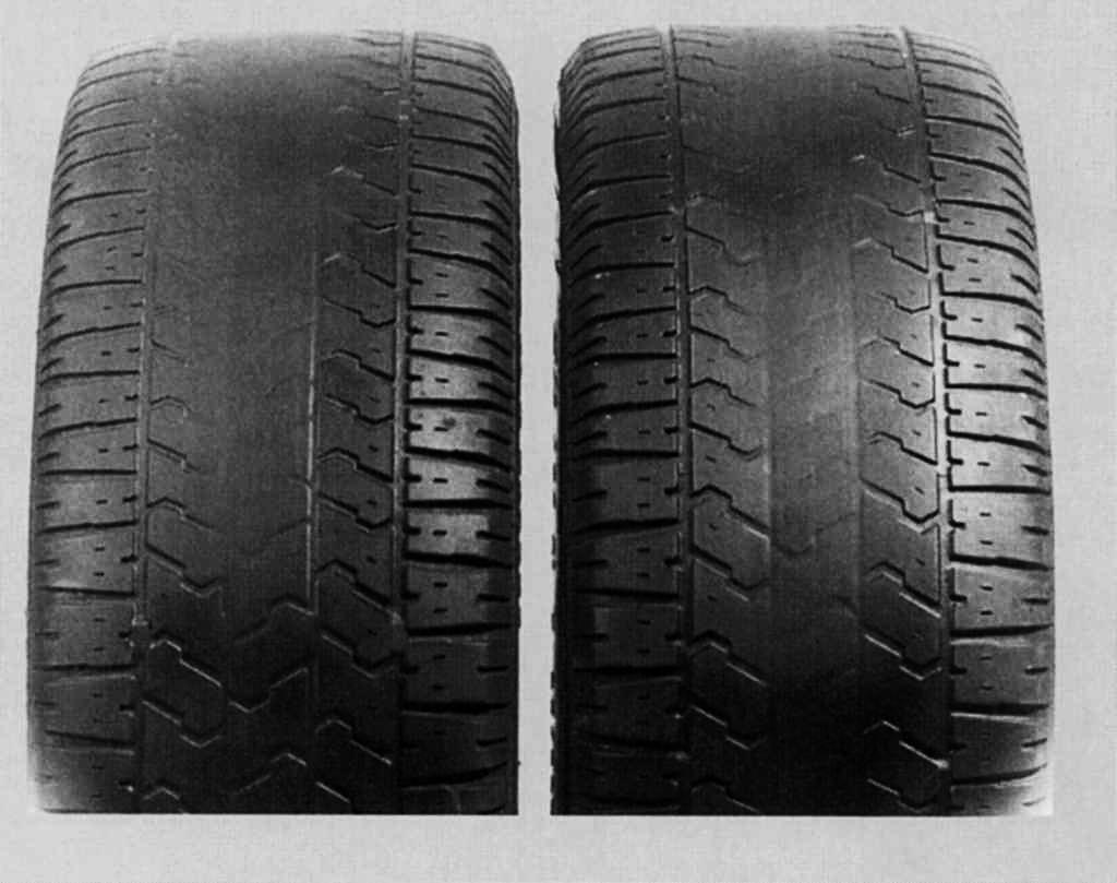 сильный износ протектора в середине шины